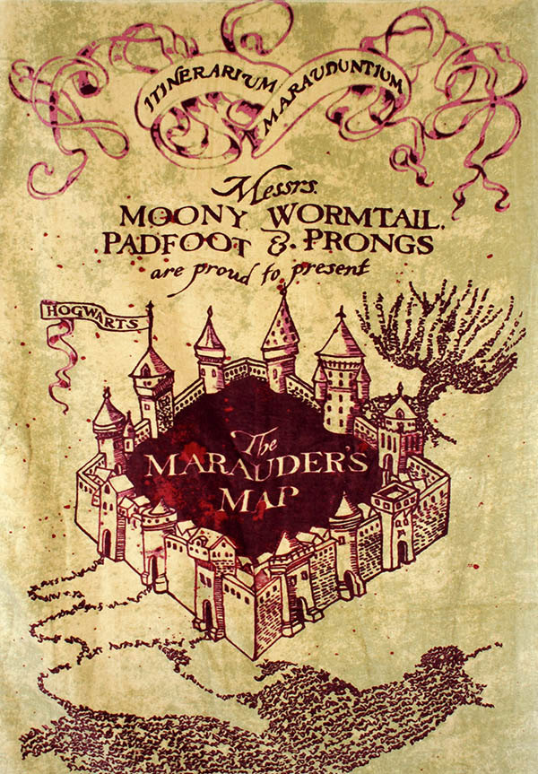 graphic regarding Marauders Map Printable called Harry Potter Marauders Map Artwork - Wall Artwork Print Poster Select a Measurement - Geekery Artwork Geekery